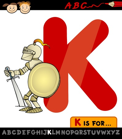 Cartoon Illustration of Capital Letter K from Alphabet with Knight for Children Education