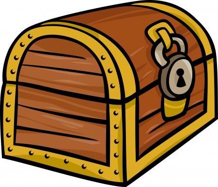Illustration pour Cartoon Illustration of Treasure Chest Clip Art - image libre de droit