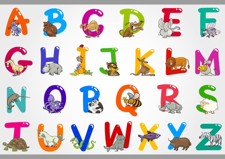 Cartoon Illustration of Colorful Alphabet Letters Set from A to Z with Funny Animals