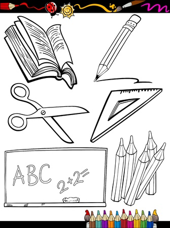 Illustration pour Coloring Book or Page Cartoon Illustration of Black and White School Objects Set for Children Education - image libre de droit