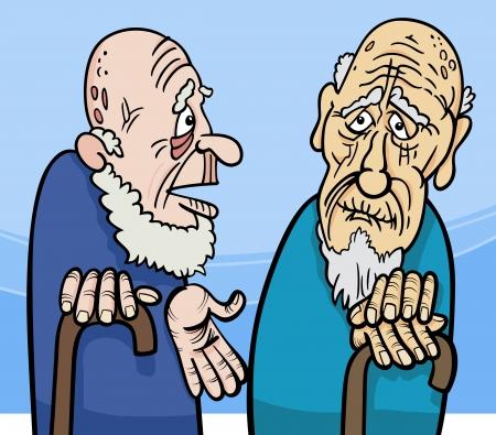 Cartoon Illustration of Two Old Men Talking