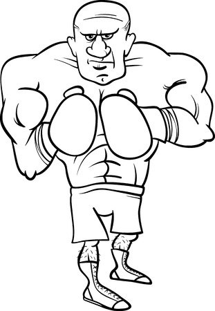 Black and White Cartoon Illustrations of Boxer Sportsman or Fighter for Coloring Book