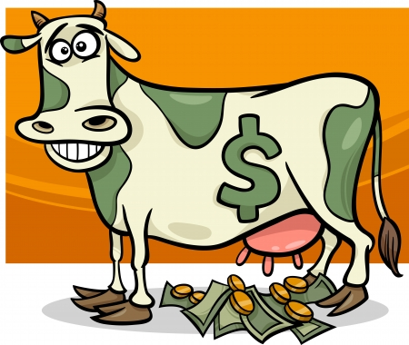 Cartoon Humor Concept Illustration of Cash Cow Saying