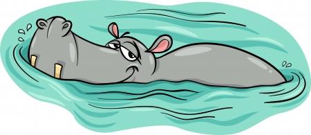Ilustración de Cartoon Illustration of Happy Hippo Animal Character or Hippopotamus in the River - Imagen libre de derechos