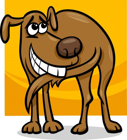 Cartoon Illustration of Funny Dog Chasing his Tail