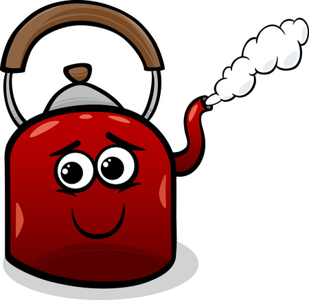 Funny Cartoon Kettle with Hot Steam