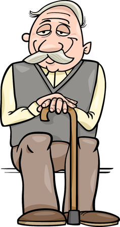 Cartoon Illustration of Elder Man Senior or Grandfather with Cane