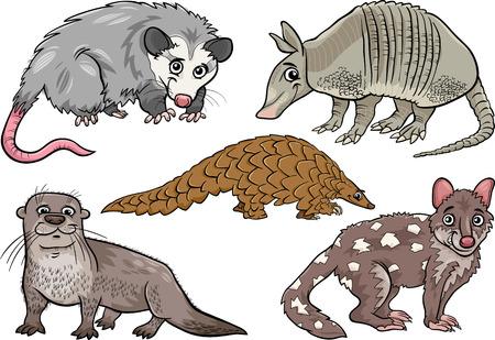 Illustration pour Cartoon Illustration of Funny Wild Animals Characters Set - image libre de droit