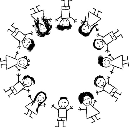 Illustration pour Black and White Cartoon Illustration of Happy Multicultural Children around the Globe for Coloring Book - image libre de droit