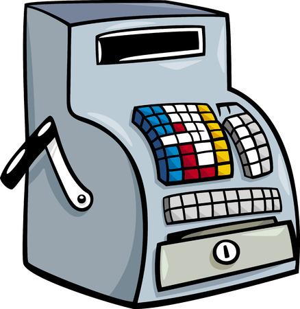 Cartoon Illustration of Old Till or Cash Register Clip Art