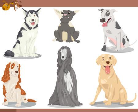 Cartoon Illustration of Funny Purebred Dogs Pets Set