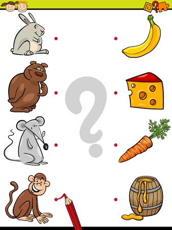 Cartoon Illustration of Education Element Matching Game for Preschool Children with Animals and their Favorite Food