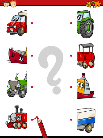 Cartoon Illustration of Education Game of Halves Matching for Preschool Children with Transport Characters
