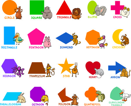 Cartoon Illustration of Educational Basic Geometric Shapes for Preschool or Primary School Children with Animal Characters