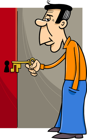 Cartoon Illustration of Man Opening Door with Key