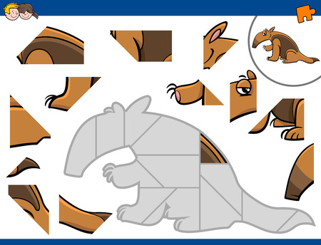Illustration pour Cartoon Illustration of Educational Jigsaw Puzzle Activity for Preschool Children with Anteater Animal Character - image libre de droit