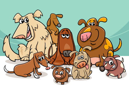 Illustration for Cartoon Illustration of Funny Dogs Pet Characters Group - Royalty Free Image