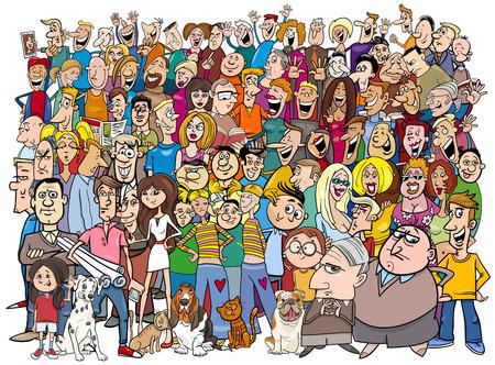 Ilustración de Cartoon Illustration of People Group in the Crowd - Imagen libre de derechos