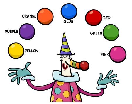 Ilustración de Cartoon Illustration of Primary Colors Educational Activity for Children with Clown Character - Imagen libre de derechos