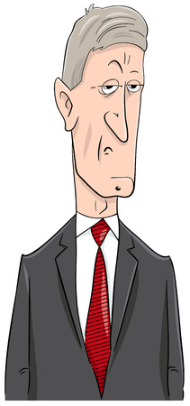 Cartoon Illustration of Politician or Businessman Character