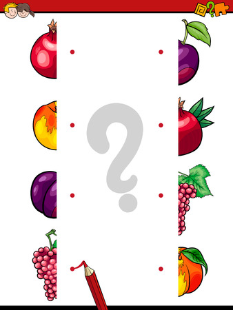 Cartoon Illustration of Educational Game of Matching Halves with Fruits Food Objects