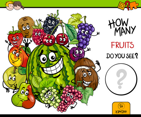 Illustration pour Cartoon Illustration of Educational Counting Activity Game for Children with Fruit Characters Group - image libre de droit