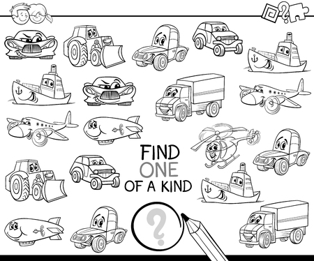 Illustration pour Black and White Cartoon Illustration of Find One of a Kind Educational Activity Game for Children with Fantasy Characters Coloring Page - image libre de droit