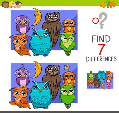 Illustration pour Cartoon Illustration of Find the Differences Educational Activity Game for Children with Owls Animal Characters Group - image libre de droit
