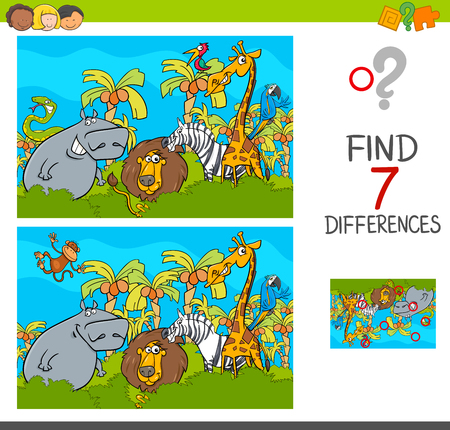 Illustration pour Cartoon Illustration of Find the Differences Between Pictures Educational Activity Game for Children with Safari Animal Characters Group - image libre de droit