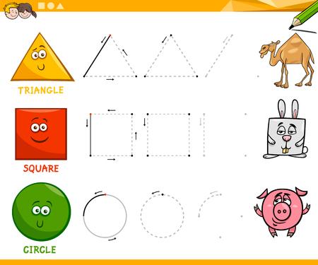 Illustration pour Educational Cartoon Illustration of Basic Geometric Shapes Drawing for Children - image libre de droit