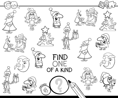 Illustration pour Black and White Cartoon Illustration of Find One of a Kind Educational Activity Game for Children with Christmas Characters and Objects Coloring Book - image libre de droit
