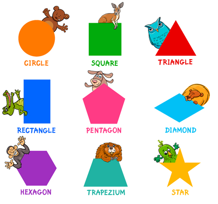 Ilustración de Shape recognition learning activity for kids. - Imagen libre de derechos