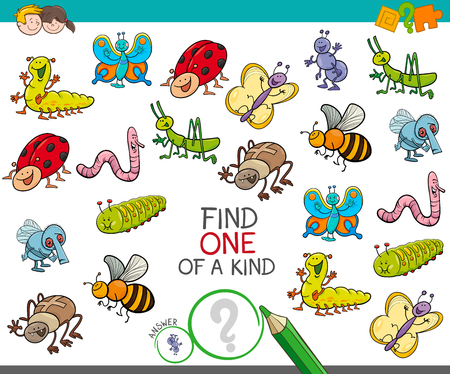 Illustration pour Cartoon Illustration of Find One of a Kind Educational Activity Game for Children with Insects Animal Characters - image libre de droit