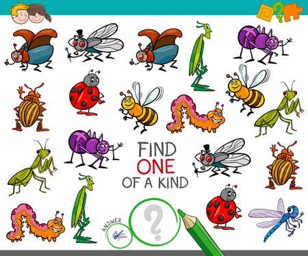 Illustration pour Cartoon Illustration of Find One of a Kind Educational Activity Game for Children with Insects Comic Characters - image libre de droit