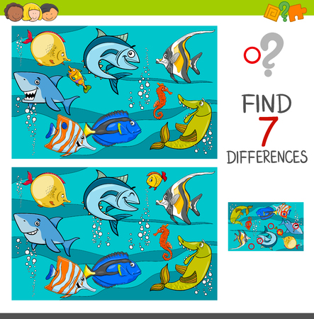 Illustration pour Cartoon Illustration of Finding Differences Between Pictures Educational Activity Game with Fish Animal Characters in the Sea - image libre de droit