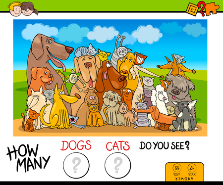 Illustration for Cartoon Illustration of Educational Counting Game for Children with Dogs and Cats Animal Characters - Royalty Free Image