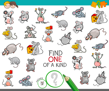 Illustration pour Cartoon Illustration of Find One of a Kind Picture Educational Activity Game for Children with Mouse Characters - image libre de droit
