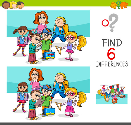 Cartoon illustration of finding eight differences between pictures educational activity game for kids with school children characters group.
