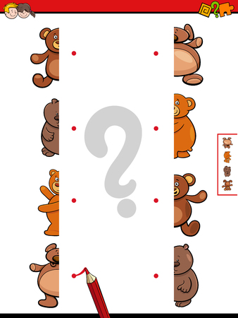 Illustration pour Cartoon Illustration of Educational Game of Matching Halves of Teddy Bears Characters - image libre de droit