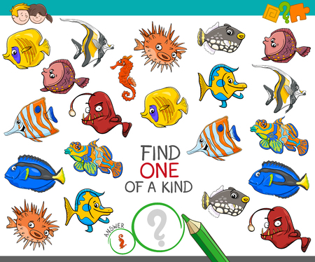 Illustration pour Cartoon Illustration of Find One of a Kind Picture Educational Activity Game for Children with Fish Sea Life Animal Characters - image libre de droit