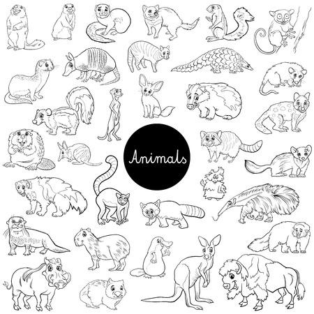 Illustration pour Black and White Cartoon Illustration of Wild Mammals Animal Characters Big Set Coloring Book - image libre de droit