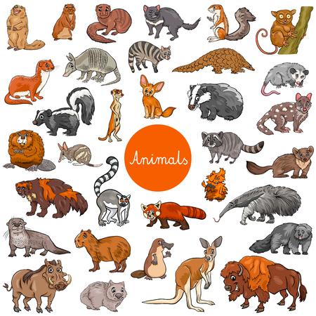 Illustration pour Cartoon Illustration of Wild Mammals Animal Characters Big Set - image libre de droit
