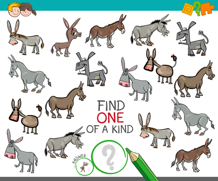 Illustration pour Cartoon Illustration of Find One of a Kind Picture Educational Activity Game for Children with Donkeys Animal Characters - image libre de droit
