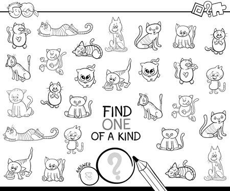 Illustration pour Black and White Cartoon Illustration of Find One of a Kind Picture Educational Activity Game for Kids with Cats or Kittens Animal Characters Coloring Book - image libre de droit
