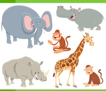 Ilustración de Cartoon Illustration of Funny Safari Animal Characters Set - Imagen libre de derechos
