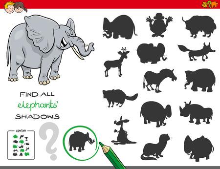Illustration pour Cartoon Illustration of Finding All Elephant Shadows Educational Activity for Children - image libre de droit