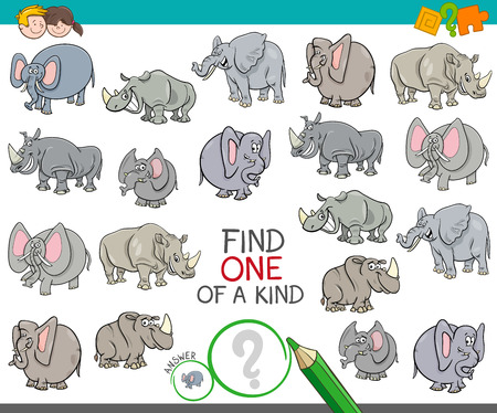 Cartoon Illustration of Find One of a Kind Picture Educational Activity Game for Children with Elephant and Rhino Characters