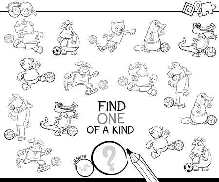Illustration pour Black and White Cartoon Illustration of Find One of a Kind Picture Educational Activity Game for Children with Animal Football Players Characters Coloring Book - image libre de droit
