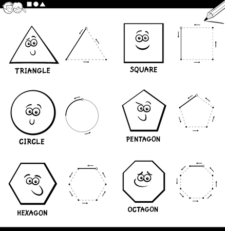 Illustration pour Black and White Educational Cartoon Illustration of Basic Geometric Shapes Drawing for Kids Coloring Book - image libre de droit