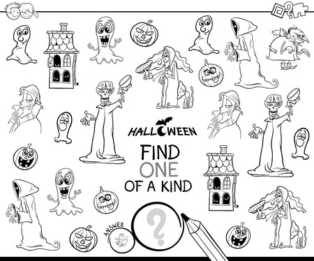Illustration pour Black and White Cartoon Illustration of Find One of a Kind Picture Educational Activity Game for Children with Halloween Theme Characters Coloring Book - image libre de droit
